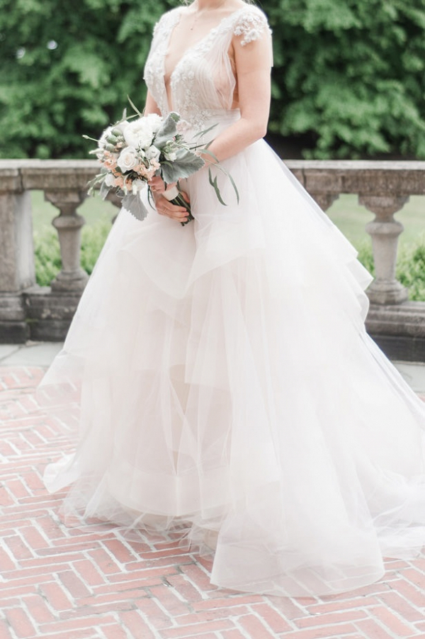 Embellished wedding dress with tulle skirt