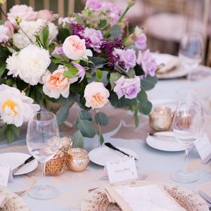 Elegant purple and blush reception table