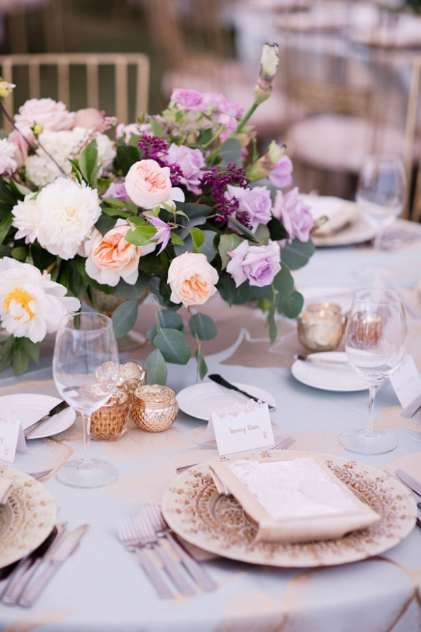 Elegant purple and blush reception table
