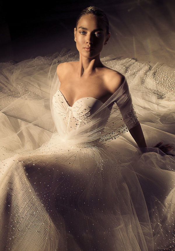 Glam embellished wedding dress with tulle off the shoulder overlay