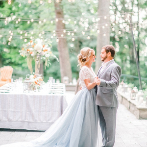 Orange and light blue garden wedding inspiration