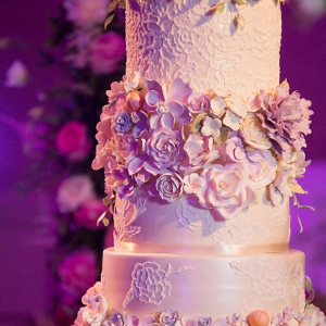 Glam floral wedding cake