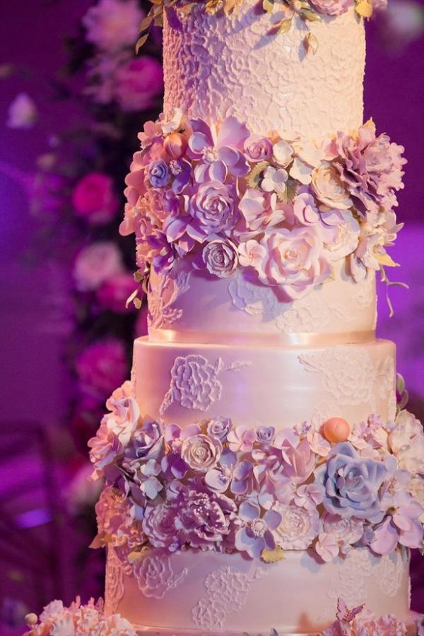 Glam floral wedding cake