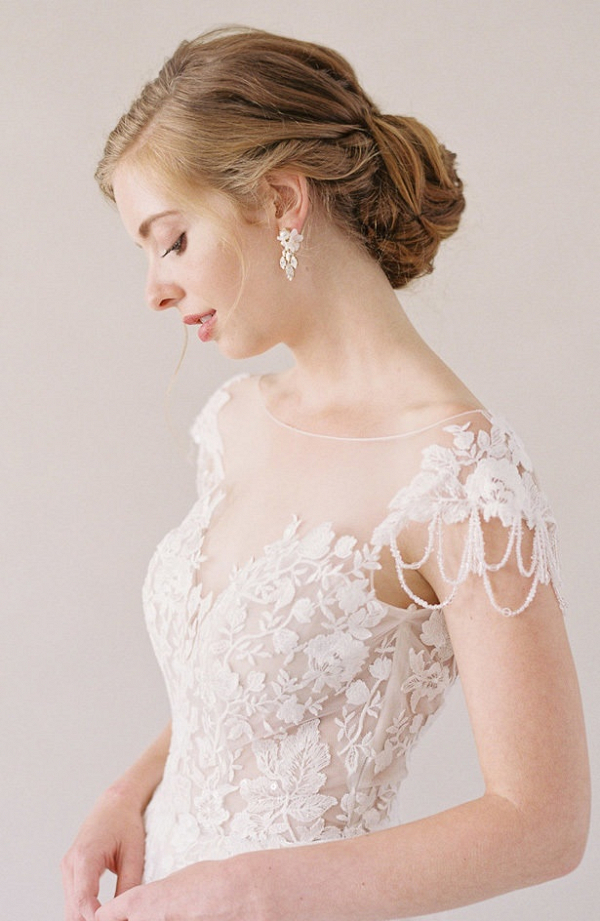 Lace off the shoulder wedding dress from Evelyn Bridal