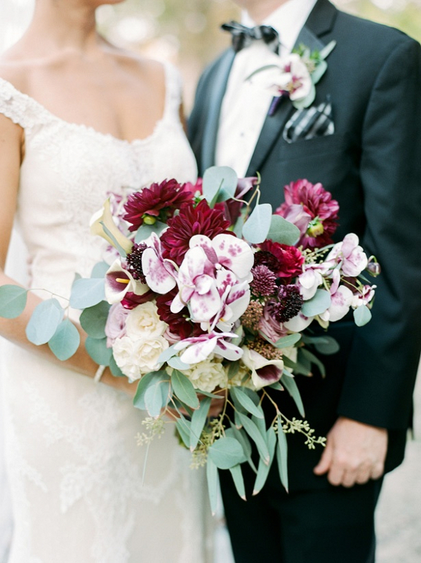 Purple and burgundy bridal bouquet