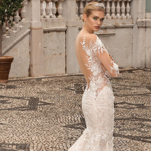 Open back floral lace Galia Lahav wedding dress