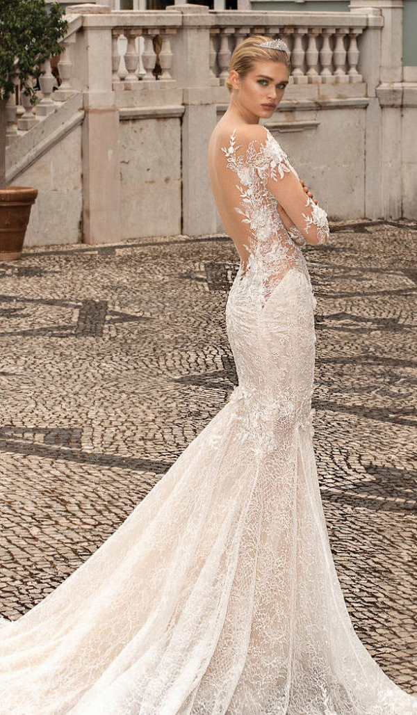 Open back floral lace Galia Lahav wedding dress