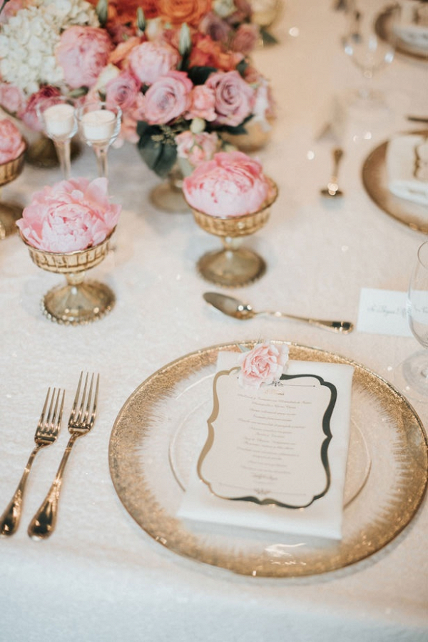 Pink and gold glam place setting