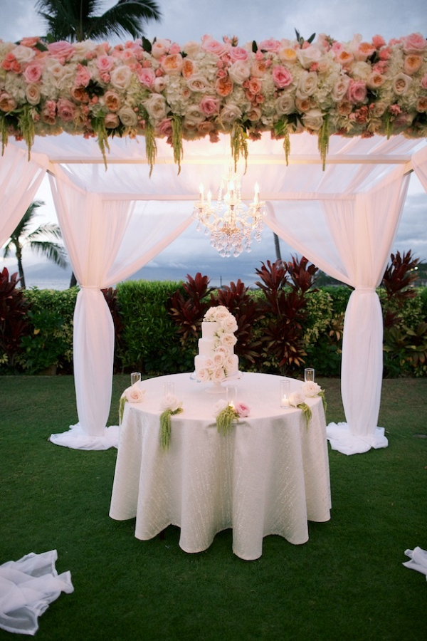 Draping covered cake table