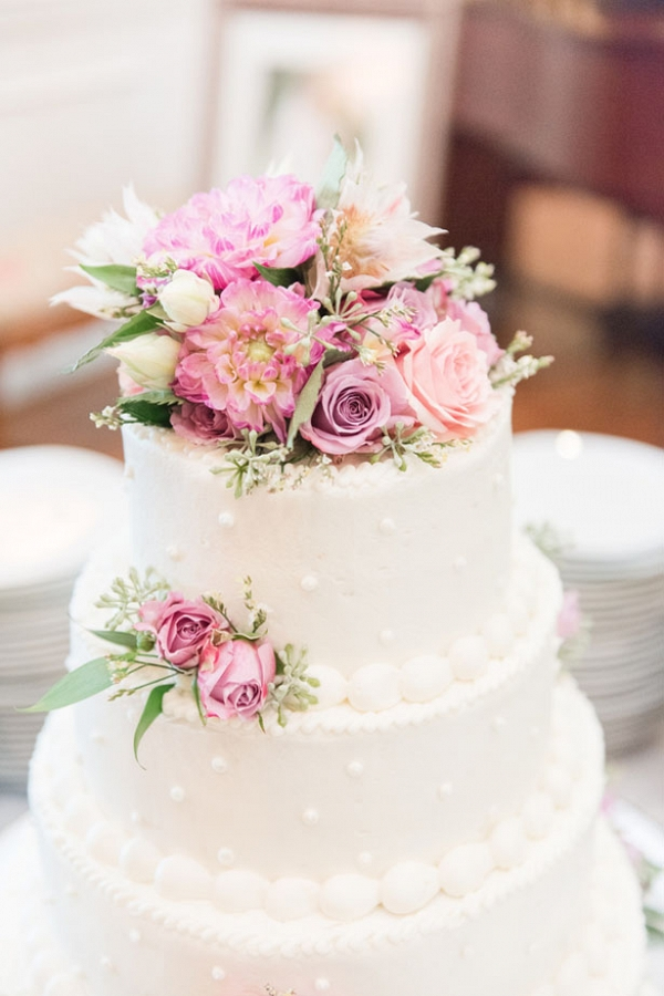 White Floral Wedding Cake on Belle the Magazine