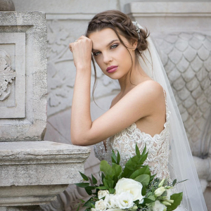 Bride with braid and veil