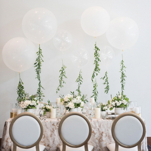 Modern tablescape with balloons