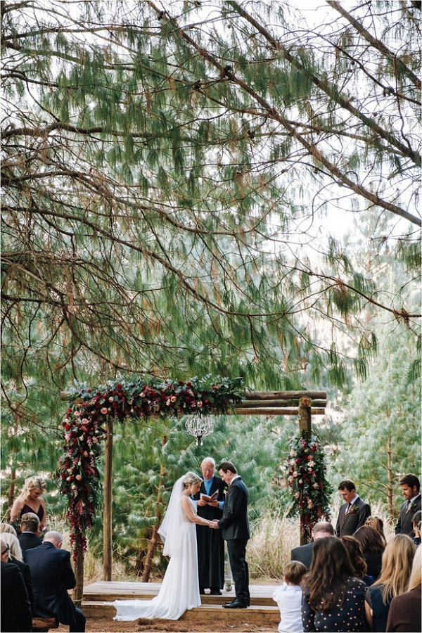 Romantic forest wedding ceremony
