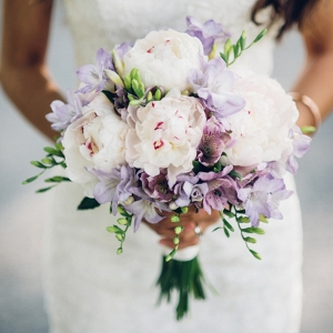 White and Lilac Wedding Bouquet