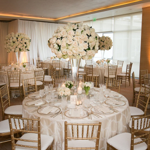 White and gold wedding reception