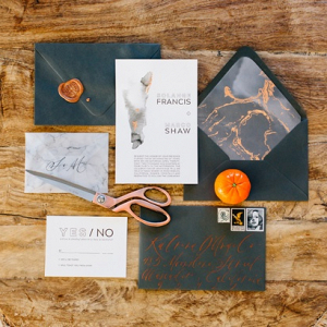 Marble orange and gray wedding invitation suite