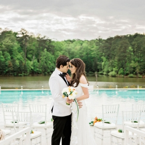 tropical poolside ceremony on Belle the Magazine