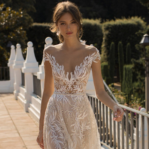 Off the shoulder illusion lace dress from Muse by Berta