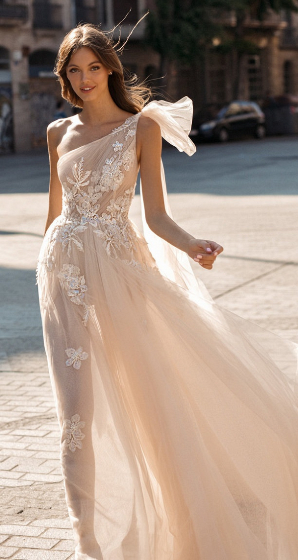One shoulder illusion lace dress from Muse by Berta