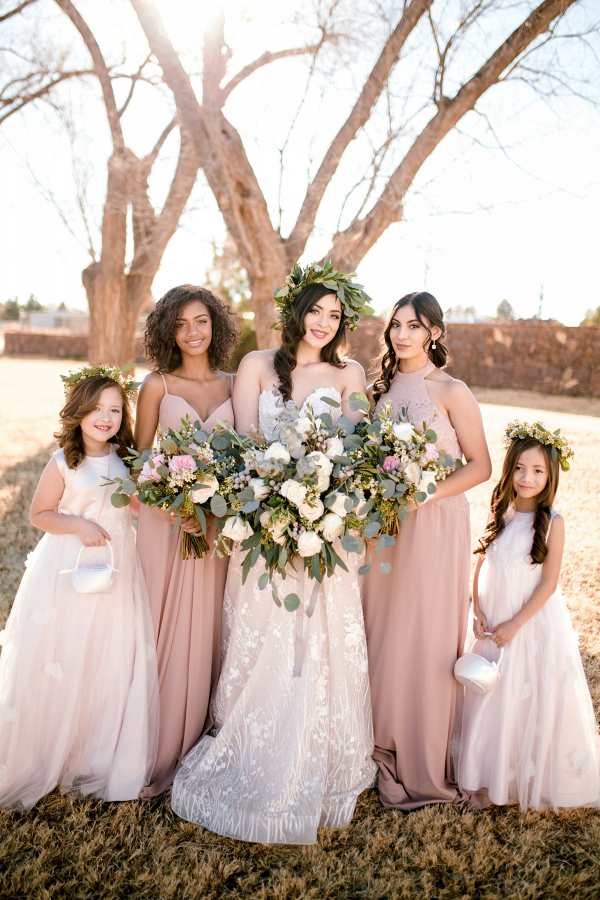 Bridesmaids in taupe with flower girls