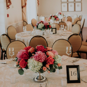 Classic coral wedding centerpiece