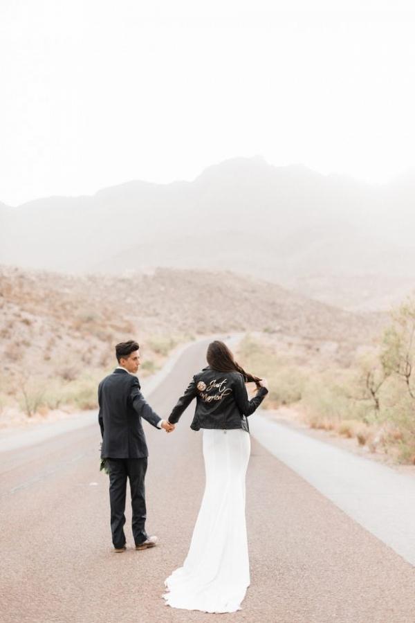 Couple on desert road