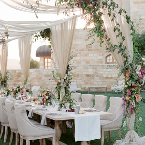 Romantic alfresco reception area on Belle the Magazine