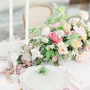 Romantic blush tablescape