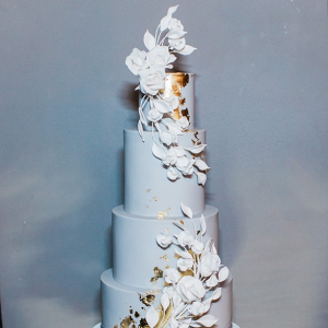 Gray and gold wedding cake