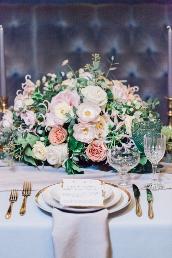 Pink and peach lush floral centerpiece