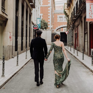 Bride and groom in street