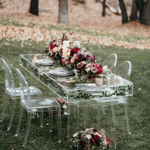Acrylic wedding table with ghost chairs