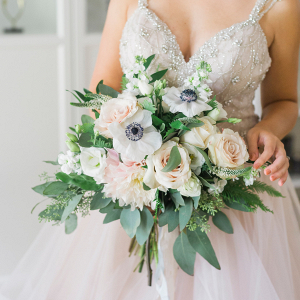 Pastel Bridal Bouquet containing roses and anemones