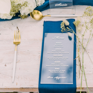 Acrylic wedding menu design