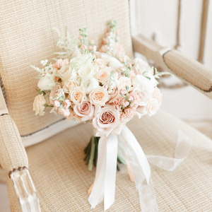 Ami's elegant bridal bouquet in soft blush pink with pale peach stocks and roses