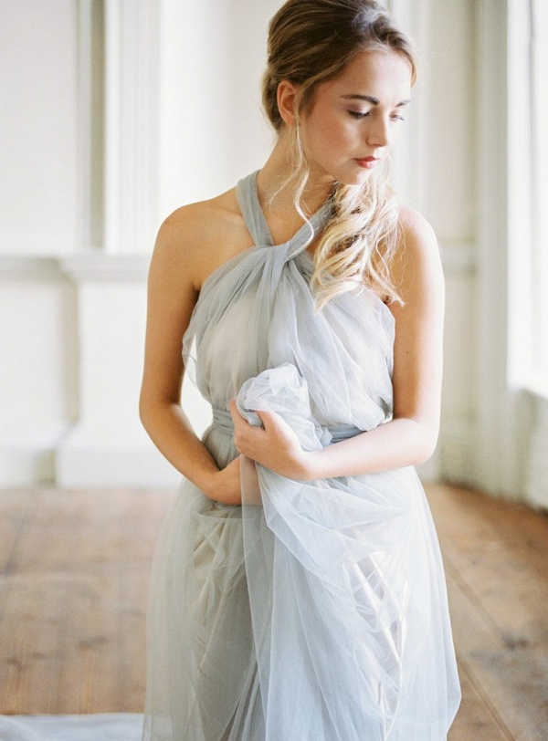 Beautiful blue grey wedding dress by Cherry Williams London