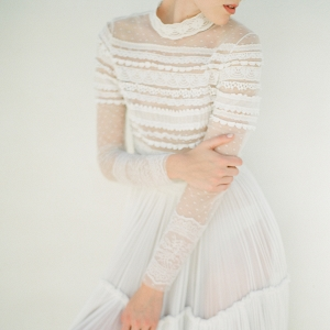 Bohemian Luxe Bridal Style wearing Christos Costarellos