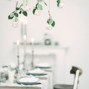 Bohemian Asian Inspired Table Setting with Hanging Roses