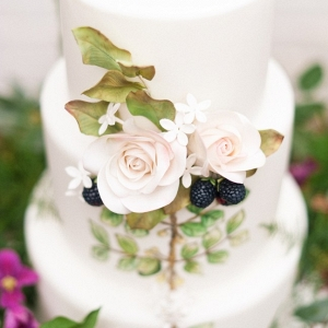 Botanical Inspired Handpainted Wedding Cake with Sugar Flowers and Berries