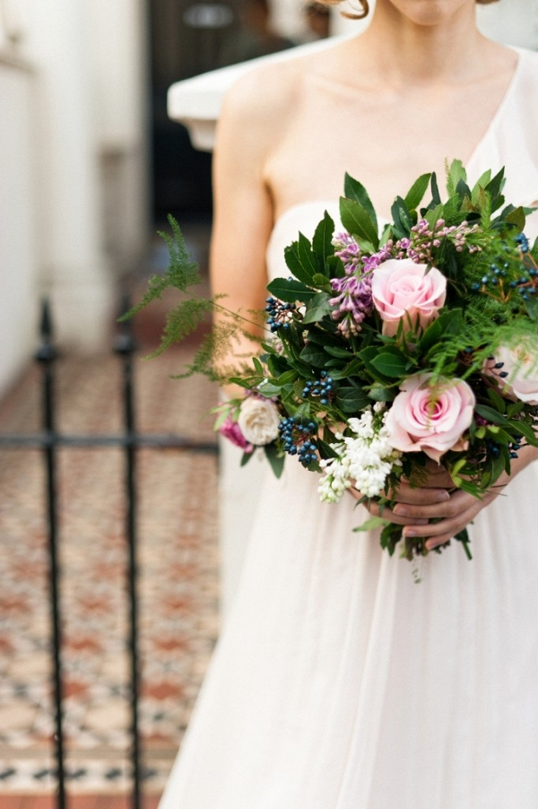 Organic Botanical Blush and Berry Wedding Bouquet