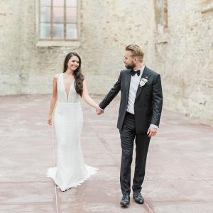 Modern elegant Bride and Groom attire and portrait in a beautiful Church