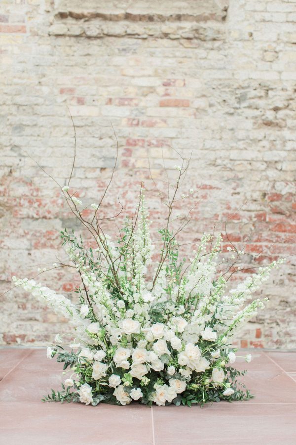 Fashionable floor floral displays for this church ceremony