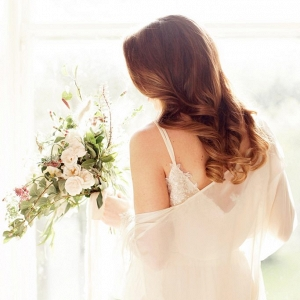 Beautiful bridal portrait on the morning of the wedding before getting ready!