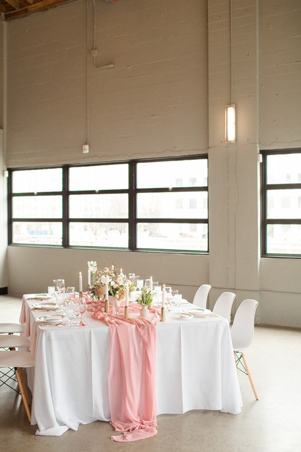 Pink and white modern wedding table setting