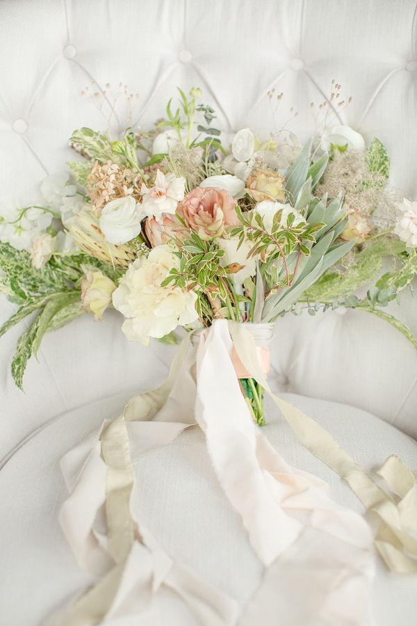 Pink green and white bridal bouquet with silk ribbons