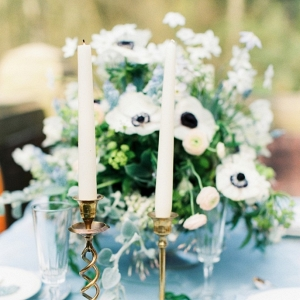 Delft Blue Tablescape with Brassware and Spring Florals