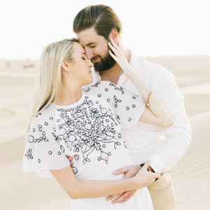 Grace's beautiful beaded maxi dress for her desert engagement shoot