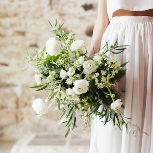 Wild and Organic Spring Wedding Bouquet with Ranunculus and Olive