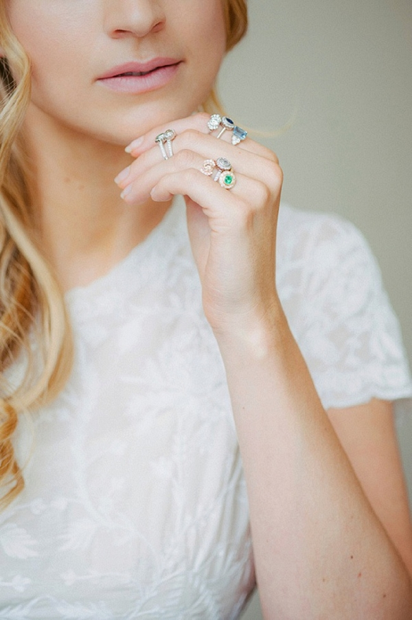 Beautiful Stack of Vintage Inspired Diamond Engagement Rings