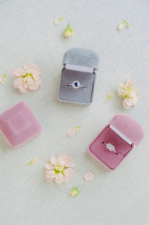 Vintage Inspired Diamond Engagement Rings in Velvet Ring Boxes